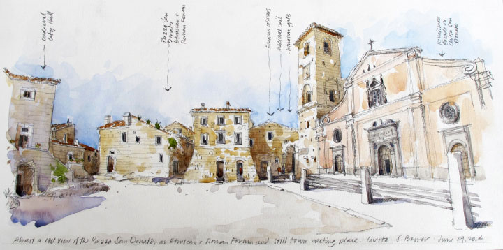 Travel Sketch of the Donato Piazza in Civita, Italy by Stephanie Bower