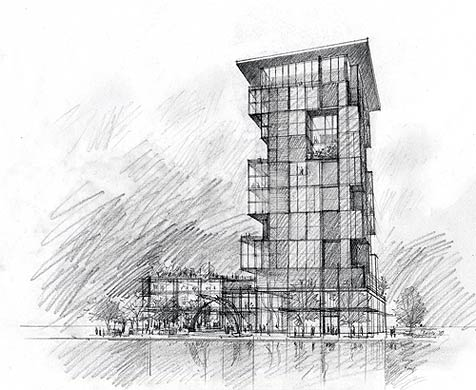 Architecture illustrations by stephanie bower seattle wa for Architecture sketch